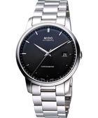 MIDO 美度 Baroncelli III Gent 天文台認證機械手錶-黑/銀 M0104081105100