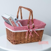 野餐籃 藤編水果籃手提籃菜藍野餐籃編織籃雞蛋籃柳編收納籃竹籃購物籃子T 3色
