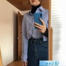 polo衫女 設計感小眾襯衫女長袖秋冬內搭寬鬆藍色條紋襯衣韓版新款上衣 漫步雲端