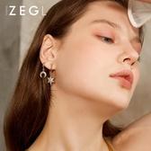 ZEGL小眾無耳洞耳夾女法式雪花星星月亮耳環耳釘氣質耳墜耳飾