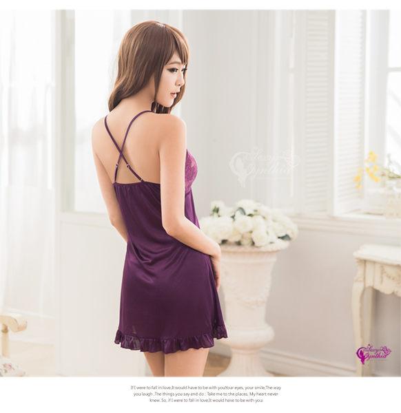 【得易屋量販】★性感睡衣 魅惑深紫柔緞交叉肩帶二件式睡衣★┌NA10020089
