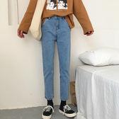 新款高腰顯瘦九分牛仔褲女潮寬鬆煙管褲子