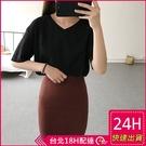 【現貨】梨卡-初春季韓版新款素色素面百搭簡約V領短袖T恤-新款純色休閒上衣BR1103