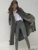 秋季風身同款韓版春秋新款寬鬆顯瘦系帶七分袖中長款風身外套女潮 1件免運