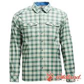 【wildland 荒野】男 彈性抗UV格子長袖襯衫『灰綠』0A71206 吸濕 快乾 排汗衣 運動 襯衫 登山 排汗衫