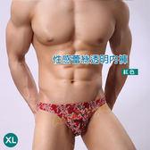男性內褲 情趣用品 花漾比利蕾絲透明三角褲(紅色/XL)『慶雙J-88折』