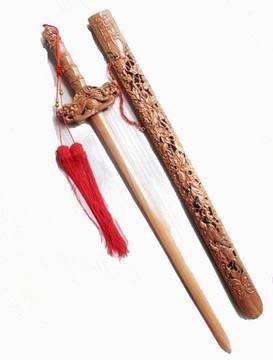 開光 富貴牡丹桃木劍1.1米 辟邪鎮宅