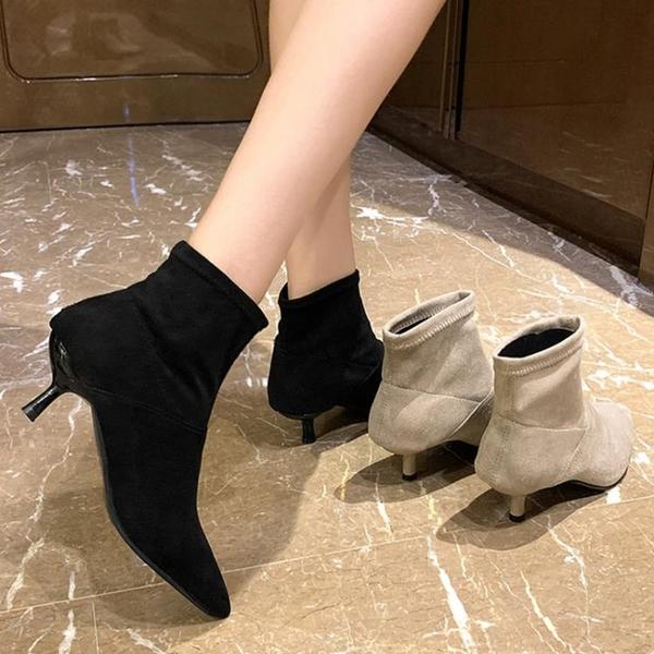 尖頭短靴女秋冬季2020新款彈力網紅瘦瘦靴及裸靴女低跟靴子女細跟 後街五號