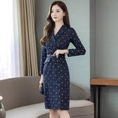 名媛波點連衣裙女裝年春秋新款時尚收腰顯瘦氣質修身流行裙子 瑪麗蘇