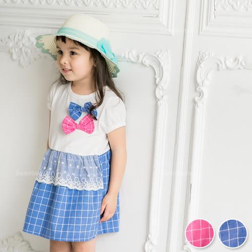 小清新,雙色蝶結蕾絲織花格紋洋裝(230050)★水娃娃時尚童裝★