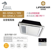 《樂奇》小太陽暖風機 BD-125WL1 /L2 線控型附LED內建照明【浴室暖風乾燥機110v / 220v】