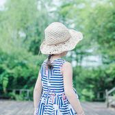 雙十一狂歡節 兒童草帽女遮陽帽韓國女童公主沙灘帽折疊大沿手工帽子夏季 小巨蛋之家