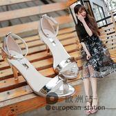 涼鞋/夏季一字帶扣細跟女黑色高跟鞋小碼露趾「歐洲站」