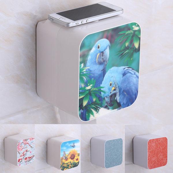 免打孔衛生間面巾盒塑料廁所紙巾架浴室免釘防水空心捲紙盒3D紙盒【時尚家居館】