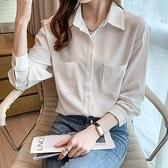 長袖上衣T恤6827網紅實拍女神夏季白色雪紡襯衫女設計感小眾薄款襯衣H308A.胖胖唯依