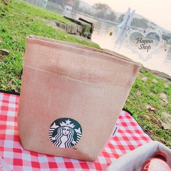 《花花創意会社》外流。星巴克Starbucks限量保溫保冷手拿包原色麻文青款【H7150】