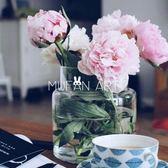 花瓶 北歐極簡透明玻璃花瓶收口水培花瓶花器家居鮮花插花花瓶擺件 創想數位 DF