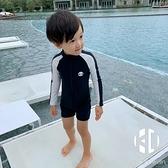 兒童泳衣男童長袖防曬速干連體泳衣溫泉套裝可愛寶寶小中童游泳衣【Kacey Devlin】