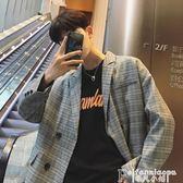 西裝外套韓國風chic秋季新款氣質格子小西裝外套男生oversize寬鬆休閑西服 非凡小鋪