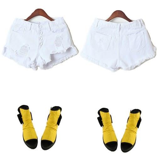 牛仔短褲【DIFF】新款韓範糖果色復古破洞顯瘦個性高腰牛仔短褲【P32】