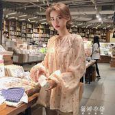 夏季女裝韓版甜美小櫻桃印花襯衣繫帶寬鬆薄款娃娃衫長袖襯衫上衣  蓓娜衣都