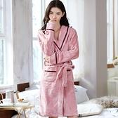 睡袍情侶酒店春秋加厚法蘭絨浴袍女冬季加厚珊瑚絨睡衣男長款浴衣【618優惠】