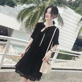 2019新款大碼女裝胖妹妹夏季潮雪紡減齡心機裙子寬鬆遮肚子連身裙 韓流時裳