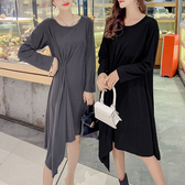 柔軟布料不規折下襬洋裝 大尺碼連身裙