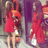 打底連身裙 韓版時尚小香風長袖修身顯瘦收腰洋裝 米蘭shoe