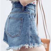 牛仔短褲女夏2018新款顯瘦高腰學生a字熱褲 BF4682『寶貝兒童裝』