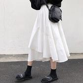 不规则a字春秋半身裙女2021新款春季白裙白色荷叶中长款裙子长裙