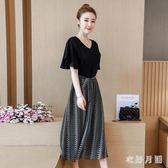 雪紡連衣裙女2019新款韓版顯瘦假兩件雪紡洋氣大碼寬鬆洋裝 QW4346【衣好月圓】