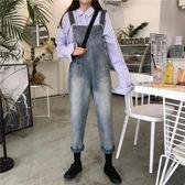 春裝女裝韓版寬鬆復古做舊薄款牛仔褲背帶褲高腰顯瘦直筒褲九分褲 降價兩天