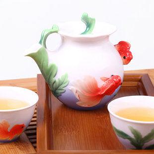 手彩 年年有餘一壺二杯  陶瓷茶具套裝