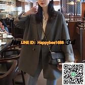 小西裝外套女春秋新款韓版英倫風黑色西服套裝上衣設計感小眾【happybee】