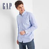 Gap男裝 時尚舒適休閒長袖襯衫227699-藍色牛津布