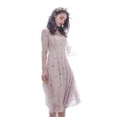 短袖洋裝-夏季薔薇印花雪紡女連身裙73pu19【巴黎精品】
