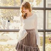 東京著衣【YOCO】微甜可人V領素色喇叭袖針織上衣-S.M.L(172465)