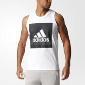 adidas 背心 ESSENTIAL TANK 男款 吊嘎 無袖 上衣 三條線 基本款 訓練 黑白 黑 白 【PUMP306】 S98704