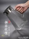 加厚錘紋玻璃涼水壺大碼家用果汁涼白開水壺耐高溫防爆冷水壺套裝CY『新佰數位屋』