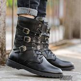 秋冬加絨靴子男士皮靴高筒軍靴中筒馬丁靴男鞋韓版潮流風長筒馬靴 街頭布衣