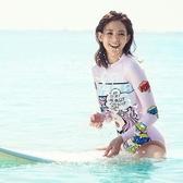 韓國潛水服女連體泳衣長袖防曬卡通水母衣浮潛服顯瘦沖浪服游泳衣