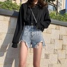 牛仔短褲女夏季薄款新款高腰a字顯瘦寬鬆破洞淺色熱褲ins潮