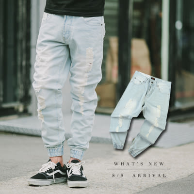 縮口褲 淺藍刷色抓破束口褲牛仔褲【N9614J】