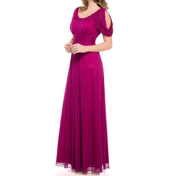 『摩達客』美國進口Landmark U領浪漫紫紅紗裙派對及地齊地長禮服/洋裝(含禮盒)(1831395014)