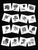 雙12聖誕交換禮物【一份16張】紋身貼防水女原創黑色小玫瑰花朵蝴蝶仿真刺青紋身紙