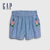 Gap女幼童活力刺繡花卉牛仔短褲577284-淺色水洗