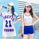泳衣女分體運動比基尼三件套平角韓國學生保守遮肚顯瘦泡溫泉泳裝