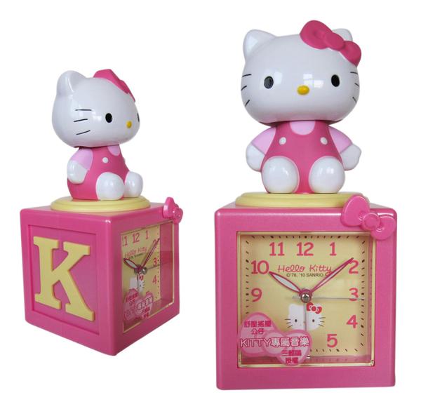 【卡漫城】 Hello Kitty 音樂 鬧鐘 ㊣版 8首和絃 舒壓 搖擺公仔 靜音秒針 貪睡功能 凱蒂貓 夜燈功能