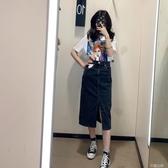 牛仔半身裙Wmxz 韓版高腰顯瘦牛仔包臀裙中長款半身裙四色入 芊墨左岸